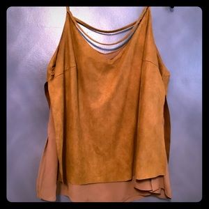 City chic faux suede double cami sexy sunset tan